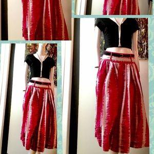 👒🌸Picnic Perfect Red & White Midi Skirt 💐🌸